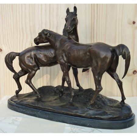Grande accolade de deux chevaux