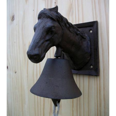 Cloche murale avec tête de cheval