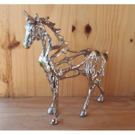 Sculpture Le cheval 2 ajouré en étain