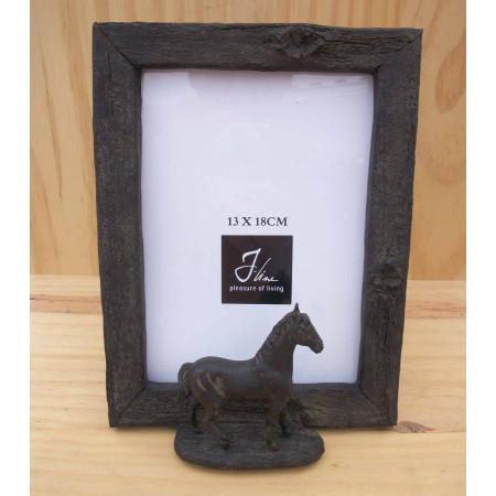 Cadre photo 3D vertical avec cheval