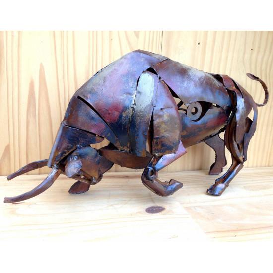 Sculpture taureau art métal