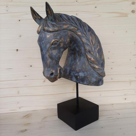 Statue tête de cheval sur socle