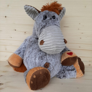 Peluche grand cheval gris